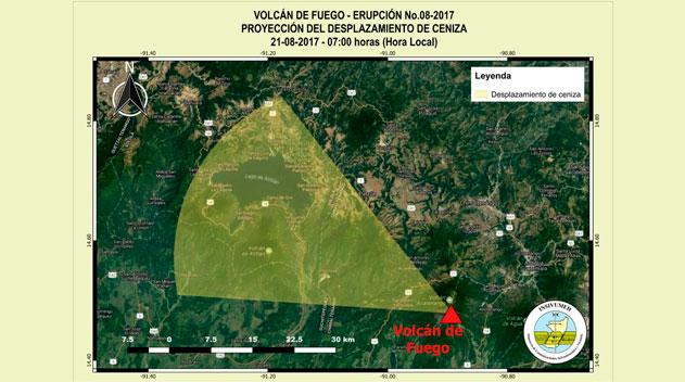 Ceniza del volcán de Fuego podría caer en municipios de Sololá