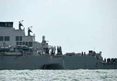 Hallan restos humanos en buque de la Armada de EE. UU. accidentado frente a Singapur